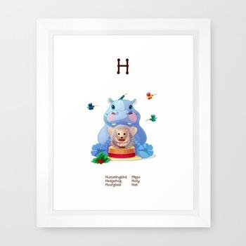 ♥ ABC  letter H. Classroom Poster Alphabet - Animals. English animals alphabet.