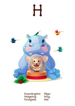 511f85d45fa ♥ ABC letter H. Classroom Poster Alphabet - Animals. English animals  alphabet.