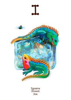 ♥ ABC  letter I. Classroom Poster Alphabet - Animals. English animals alphabet.