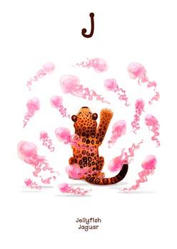 ♥ ABC  letter J. Classroom Poster Alphabet - Animals. English animals alphabet.