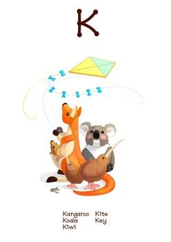 ♥ ABC  letter K. Classroom Poster Alphabet - Animals. Engl