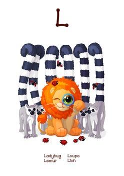 ♥ ABC  letter L. Classroom Poster Alphabet - Animals. English animals alphabet.
