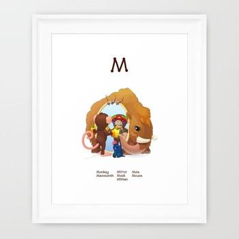 ♥ ABC  letter M. Classroom Poster Alphabet - Animals. English animals alphabet.