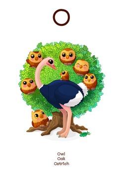♥ ABC  letter O. Classroom Poster Alphabet - Animals. English animals alphabet.