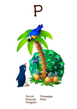 ♥ ABC  letter P. Classroom Poster Alphabet - Animals. English animals alphabet.