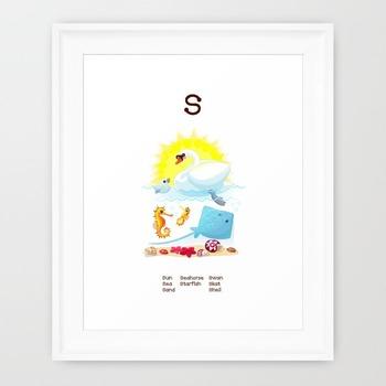♥ ABC  letter S. Classroom Poster Alphabet - Animals. English animals alphabet.