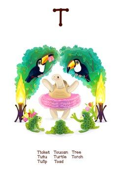 ♥ ABC  letter T. Classroom Poster Alphabet - Animals. English animals alphabet.
