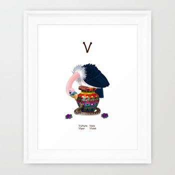♥ ABC  letter V. Classroom Poster Alphabet - Animals. English animals alphabet.