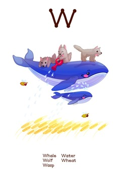 ♥ ABC  letter W. Classroom Poster Alphabet - Animals. English animals alphabet.