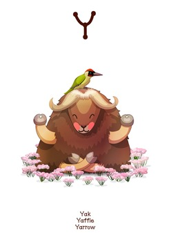 ♥ ABC  letter Y. Classroom Poster Alphabet - Animals. English animals alphabet.