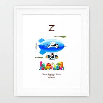♥ ABC  letter Z. Classroom Poster Alphabet - Animals. English animals alphabet.