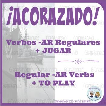 ¡ACORAZADO! Verbos Regulares -AR (con Esquiar) + JUGAR