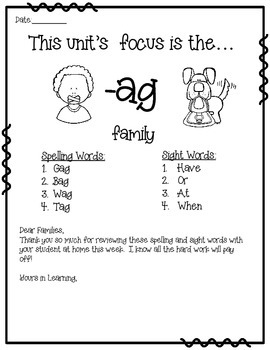 -AG WORD FAMILY PHONICS AND SIGHT WORD WORK EARLY LITERACY DECODING