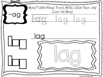 ~AG Word Family Worksheets Worksheets. Preschool-1st Grade Phonics.