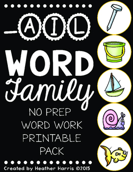 -AIL Word Family Print and Go