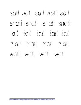 -AIL Word Family Tracing