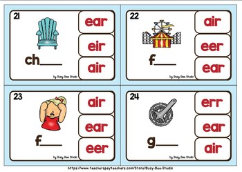 R-Controlled Vowel Clip Cards: AIR, ERR, IER, EER, EIR, EAR