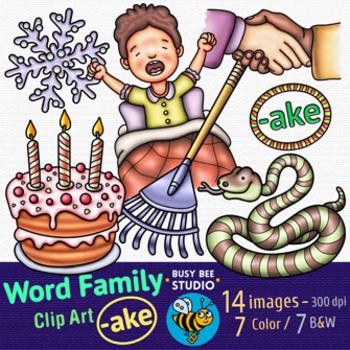 """-AKE"" Word Family Clip Art | Magic E Clipart"