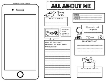 """""""ALL ABOUT ME"""" Free Welcome Back to School Activity"""