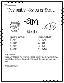 -AM WORD FAMILY PHONICS AND SIGHT WORD WORK EARLY LITERACY DECODING