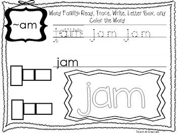 ~AM Word Family Worksheets Worksheets. Preschool-1st Grade Phonics.