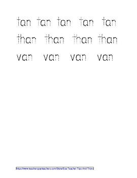 -AN Word Family Tracing