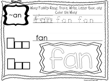 ~AN Word Family Worksheets Worksheets. Preschool-1st Grade Phonics.