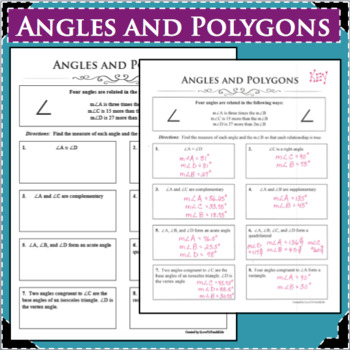 ANGLES and POLYGONS GEOMETRY REVIEW & PRACTICE