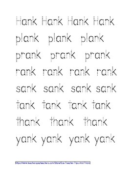 -ANK Word Family Tracing