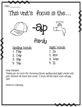-AP WORD FAMILY PHONICS AND SIGHT WORD WORK EARLY LITERACY DECODING