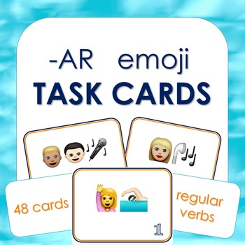 -AR Verbs Conjugation Task Cards with Emojis (Spanish)