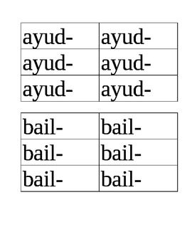 -AR VERB PRESENT TENSE PAIR AND SHARE ACTIVITY