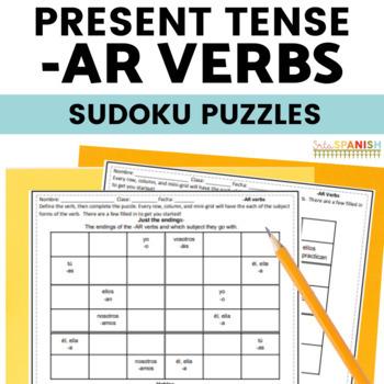AR Verbs Present Tense Spanish Sudoku Activity