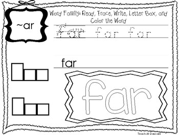 ~AR Word Family Worksheets Worksheets. Preschool-1st Grade Phonics.