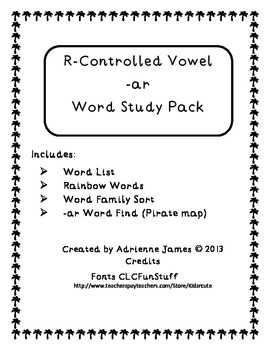 -AR (r-controlled vowel) Word Study Pack