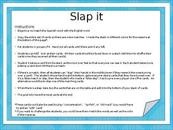 Auténtico 1: AR verbs SLAP IT game