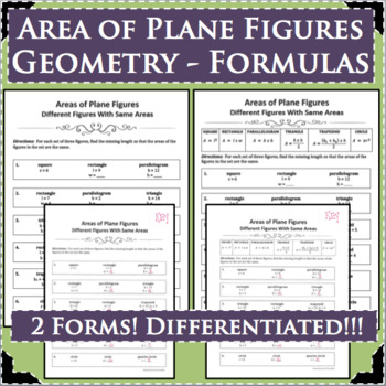 AREA PLANE FIGURES GEOMETRY FORMULAS Differentiated! 2 Forms!