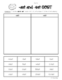 -AST and -EST Ending Sounds Sorting Worksheet