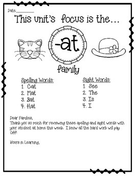 -AT WORD FAMILY PHONICS AND SIGHT WORD WORK EARLY LITERACY DECODING