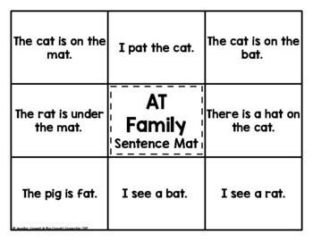 -AT Word Family Word and Sentence Matching Mats