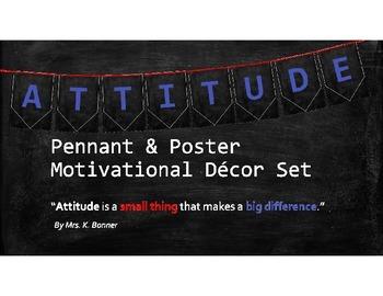 """ATTITUDE"" Pennant & Poster Motivational Bulletin Board Set"