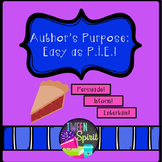 "Author's Purpose ""Easy as PIE"" Anchor Chart & Task Cards"