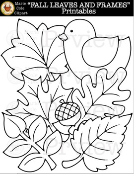 """""""FALL LEAVES AND FRAMES"""" Printables [Marie Cole Clipart]"""