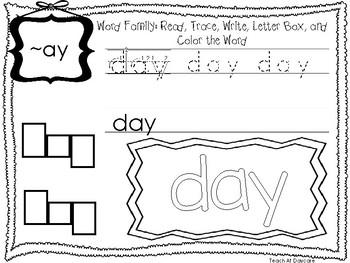 ~AY Word Family Worksheets Worksheets. Preschool-1st Grade Phonics.