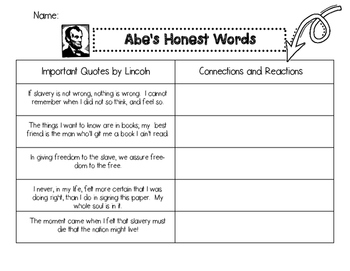 """Abe's Honest Words"" Connection Worksheet"