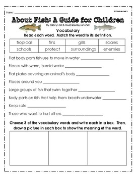 """""""About Fish: A Guide For Children"""" Activities for Reading & Writing"""