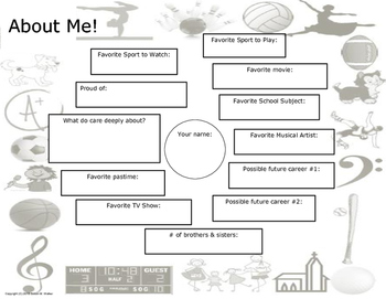 """About Me"" Sheet or Circle Map for Back to School"