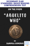 """Abuelito Who"" Poem by Sandra Cisneros MC Reading Analysis & Comprehension Test"