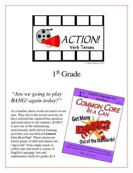 """Action!"" Past, Present, & Future Verb Tenses 1st Grade Common Core Game Packet"
