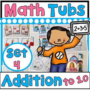 (Addition to 10) Year of Morning Math Tubs or Centers Set 4!